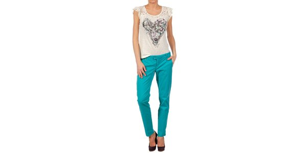 Dámske akvamarínové nohavice Nolita