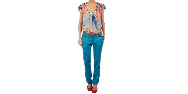 Dámske žiarivo modré ľanové nohavice Nolita