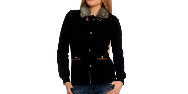 Dámska čierna bundička s kožúškom Galvanni