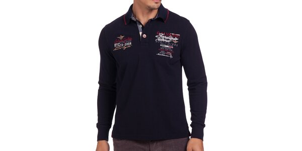 Pánske tmavomodré tričko s výšivkou Galvanni