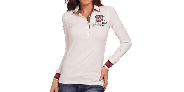 Dámske smotanovo biele polo tričko s farebnými manžetami Galvanni