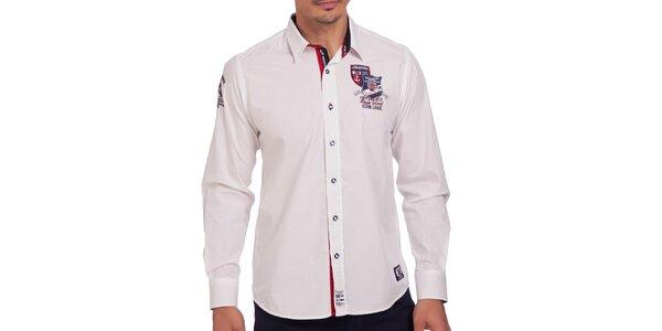 Pánska biela košeľa s výšivkou na hrudi Galvanni