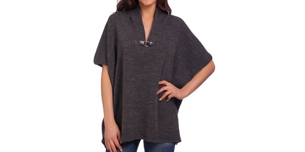Dámsky šedý voľný sveter s prackou Galvanni