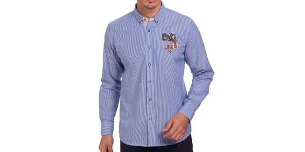 Pánska modrá košeľa s výšivkou na hrudi a chrbáte Galvanni