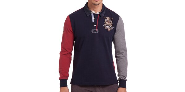 Pánske tmavomodré polo tričko s červeným rukávom Galvanni