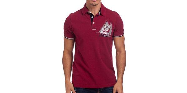 Pánske bordó polo tričko s krátkymi rukávmi Galvanni