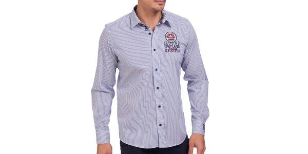 Pánska modro pruhovaná košeľa s výšivkou Galvanni