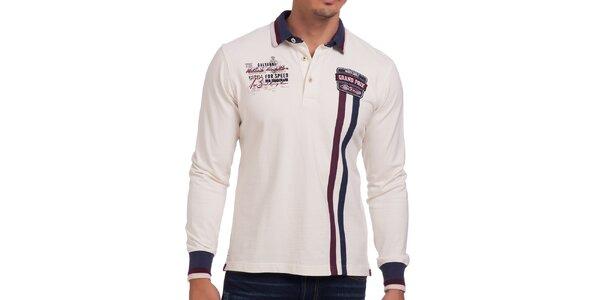 Pánske biele polo tričko s dlhým rukávom a vertikálnymi prúžkami Galvanni