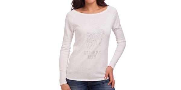 Dámske krémové tričko s dlhým rukávom Galvanni