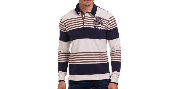 Pánske modro-biele polo tričko s hnedými pruhmi Galvanni