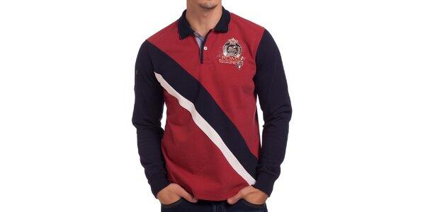 Pánske červeno-tmavomodré polo tričko s dlhým rukávom Galvanni