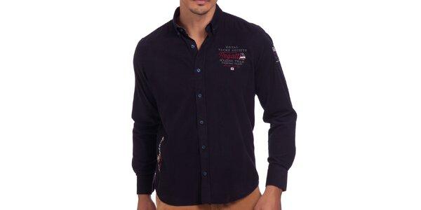 Pánska tmavomodrá košeľa s výšivkou na hrudi Galvanni