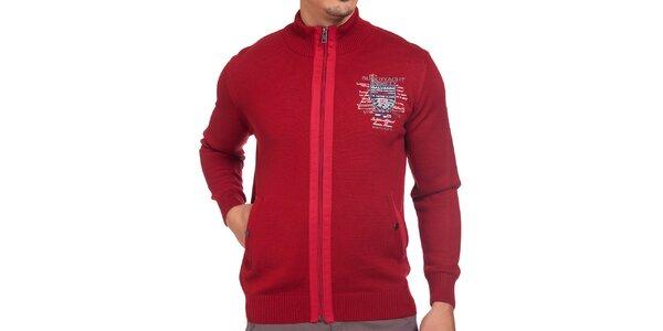 Pánsky červený sveter so zipsom Galvanni