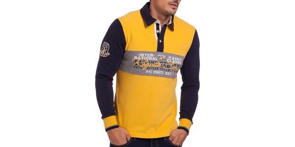 Pánske žlto-modré polo tričko so vzorom na hrudi Galvanni