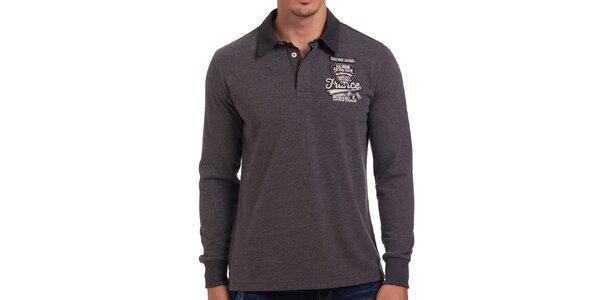Pánske šedé polo tričko s dlhým rukávom Galvanni