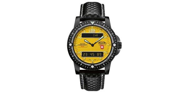 Pánske čierne hodinky so žltým ciferníkom a koženým remienkom Swiss Military