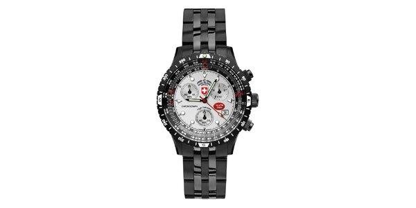 Pánske tmavé oceľové hodinky so svetlým ciferníkom Swiss Military