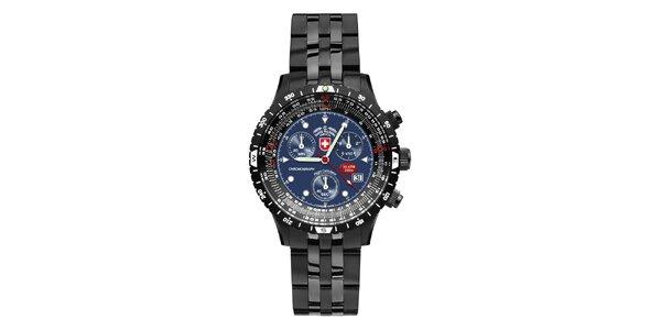 Pánske tmavé oceľové hodinky s modrým ciferníkom Swiss Military