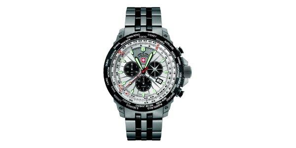 Pánske hodinky z ocele so svetlým ciferníkom Swiss Military