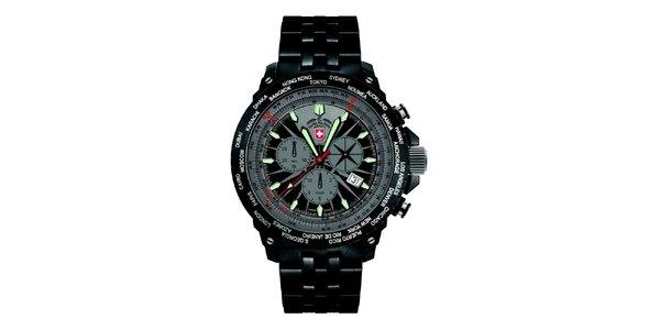 Pánske tmavé hodinky z ocele Swiss Military