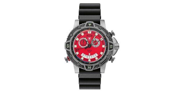 Pánske titánové hodinky s červeným ciferníkom Swiss Military