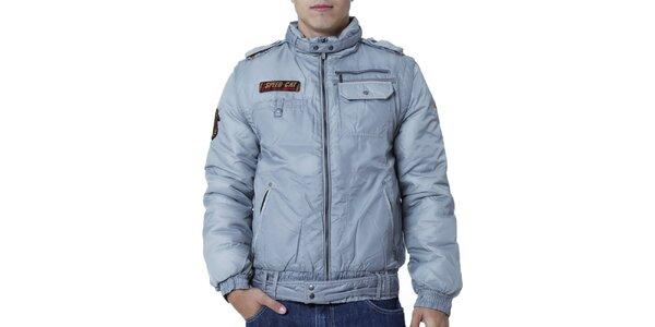 Pánska šedá bunda s nášivkami Puma