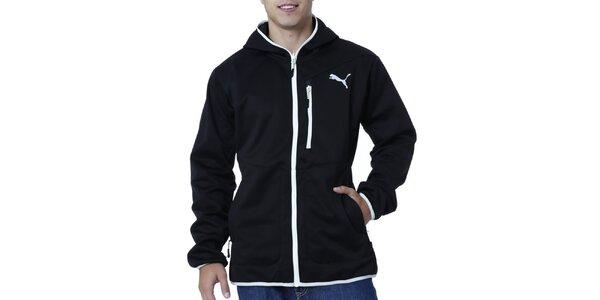 Pánska čierna bunda s bielymi detailmi Puma