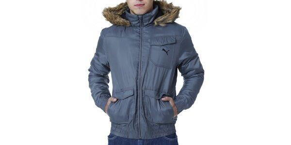 Pánska šedá zimná bunda Puma s kožúškom