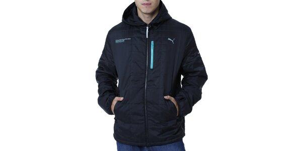 Pánska čierna bunda s modrými detailmi Puma