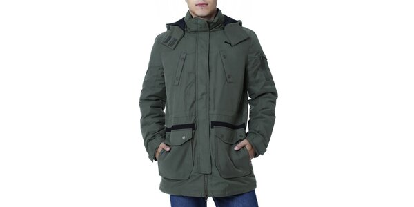 Pánska khaki bunda dlhšieho strihu Puma