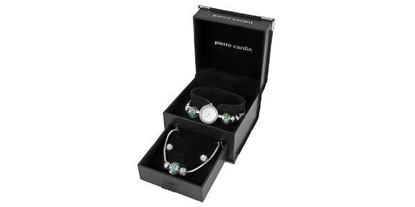 Dámske oceľové hodinky Pierre Cardin se zelenými korálkami a náhrdelníkom