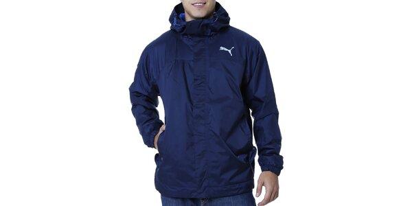 Pánska modrá bunda s kapucňou a vreckami Puma