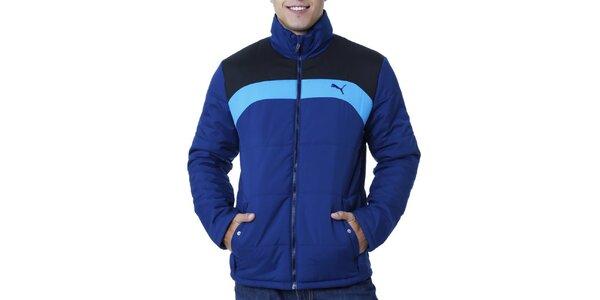 Pánska modrá bunda s kontrastnými pruhmi Puma