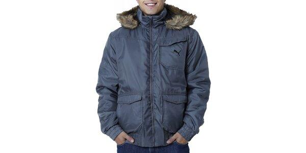 Pánska šedá bunda s kapucňou a kožúškom Puma