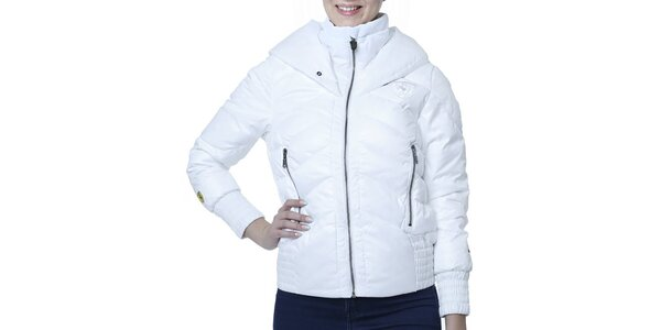 Dámska biela bunda s kapucňou a nášivkou Puma