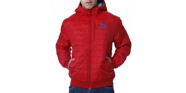 Pánska červená prešívaná bunda s modrým logom Puma