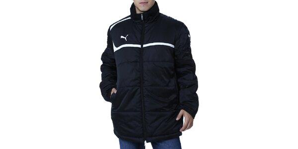 Pánska čierna bunda s bielym prúžkom Puma
