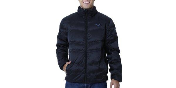 Pánska tmavo modrá prešívaná bunda s čiernym zipsom Puma