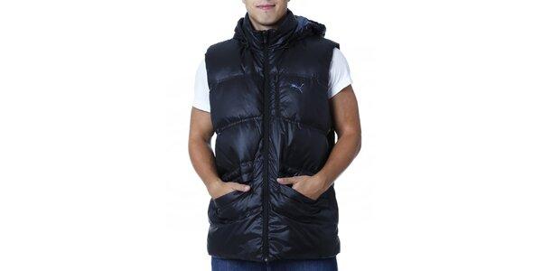 Pánska čierna prešívaná vesta s kapucňou Puma