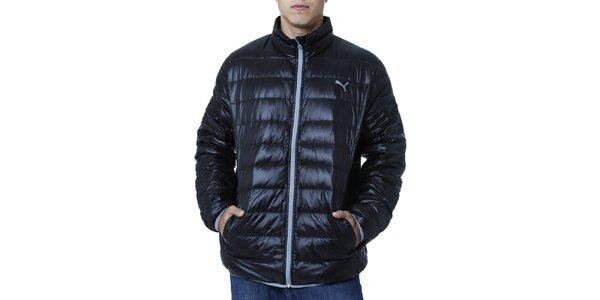 Pánska čierna prešívaná bunda s kontrastným zipsom Puma
