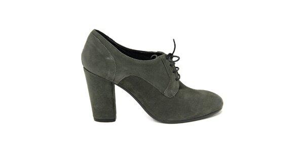 Dámske tmavé šnúrovacie topánky na opätku Nina Morena