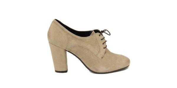 Dámske svetlé šnúrovacie topánky na opätku Nina Morena