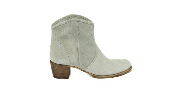 Dámske svetlé semišové členkové topánky Nina Morena