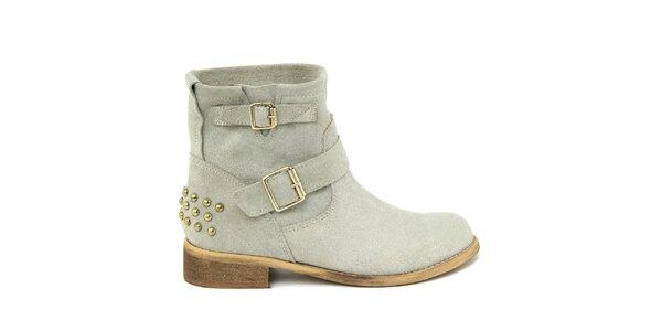 Dámske svetlé semišové topánky s prackami Nina Morena