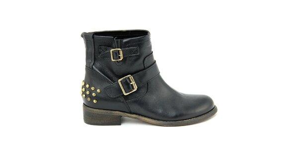 Dámske čierne kožené topánky s prackami Nina Morena