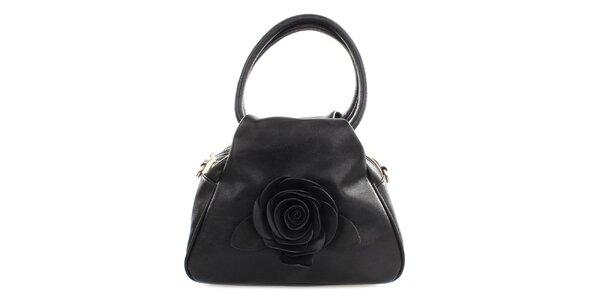Dámska čierna kabelka s ružičkou Gessy