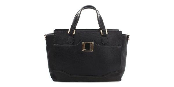 Dámska čierna kabelka s kovovým detailom Gessy