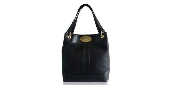 Dámska čierna kabelka so zámčekom Gessy