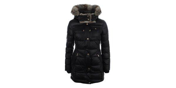 Dámsky čierny prešívaný kabátik s kožušinkou Halifax