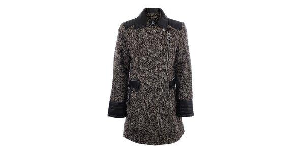 Dámsky hnedý žíhaný kabát s čiernymi vsadkami Halifax